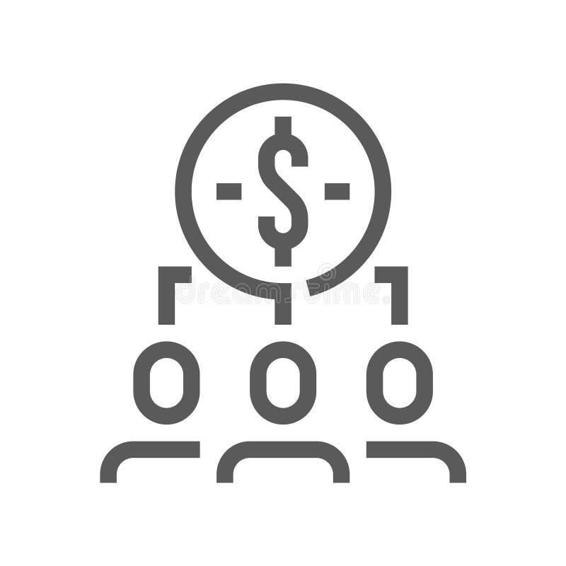 Línea icono del vector de la gestión de recursos humanos Gestión de inversiones Movimiento Editable pixel 48x48 perfecto stock de ilustración