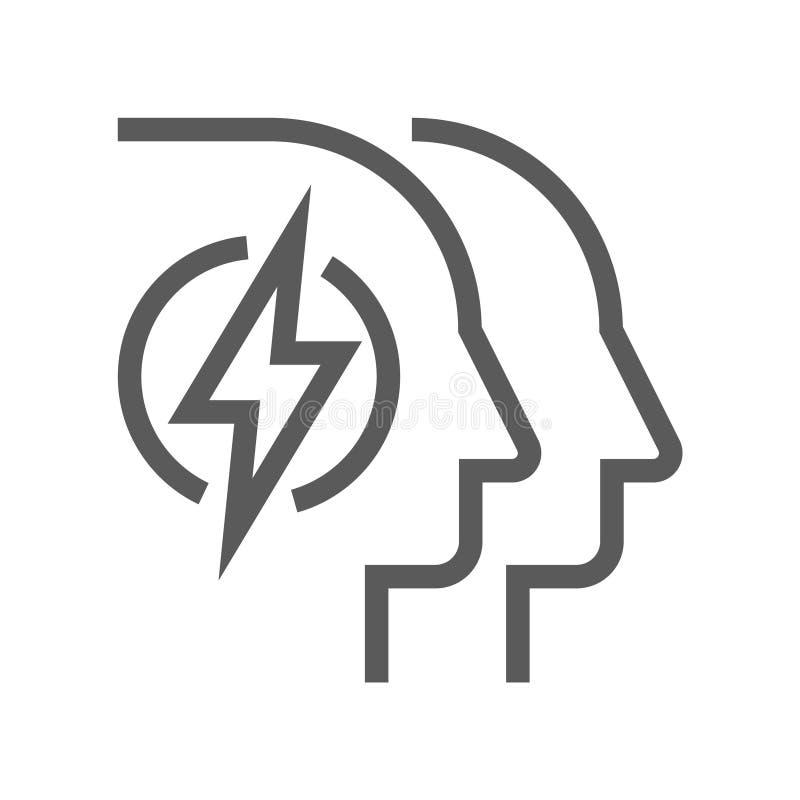 Línea icono del vector de la gestión de recursos humanos Poder de la mente Movimiento Editable pixel 48x48 perfecto ilustración del vector