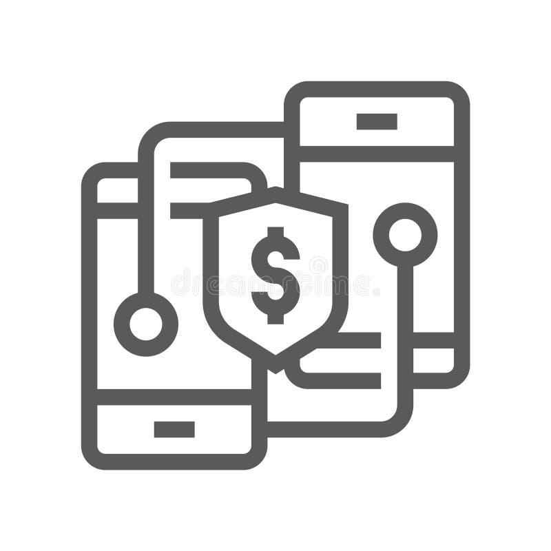 Línea icono del vector de la industria de Fintech ilustración del vector