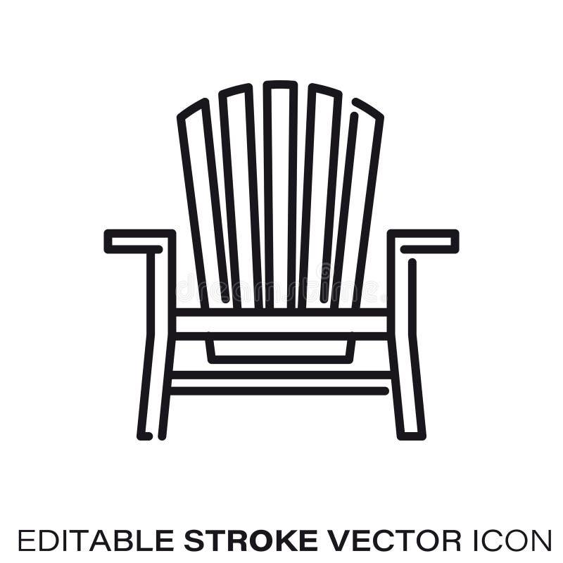 Línea icono del vector de la silla de Adirondack stock de ilustración