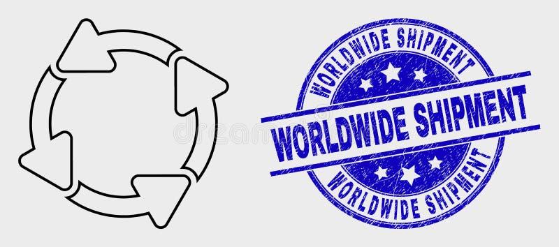 Línea icono del vector de las flechas de la circulación y sello mundial del envío del Grunge ilustración del vector