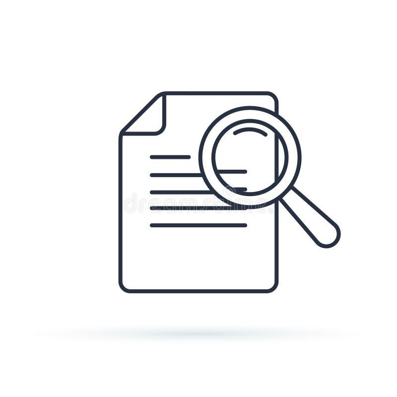 Línea icono del vector de los estudios de caso Elemento de Infographic sobre el desarrollo web Línea fina plana pictograma del ic stock de ilustración