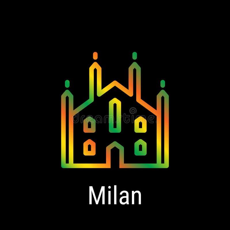 Línea icono del vector de Milán, Italia libre illustration