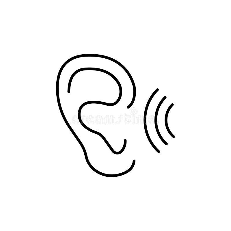 Línea icono del vector del oído stock de ilustración