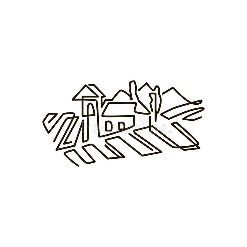 Línea icono del vector Paisaje del viñedo Un dibujo lineal Aislado en el fondo blanco stock de ilustración