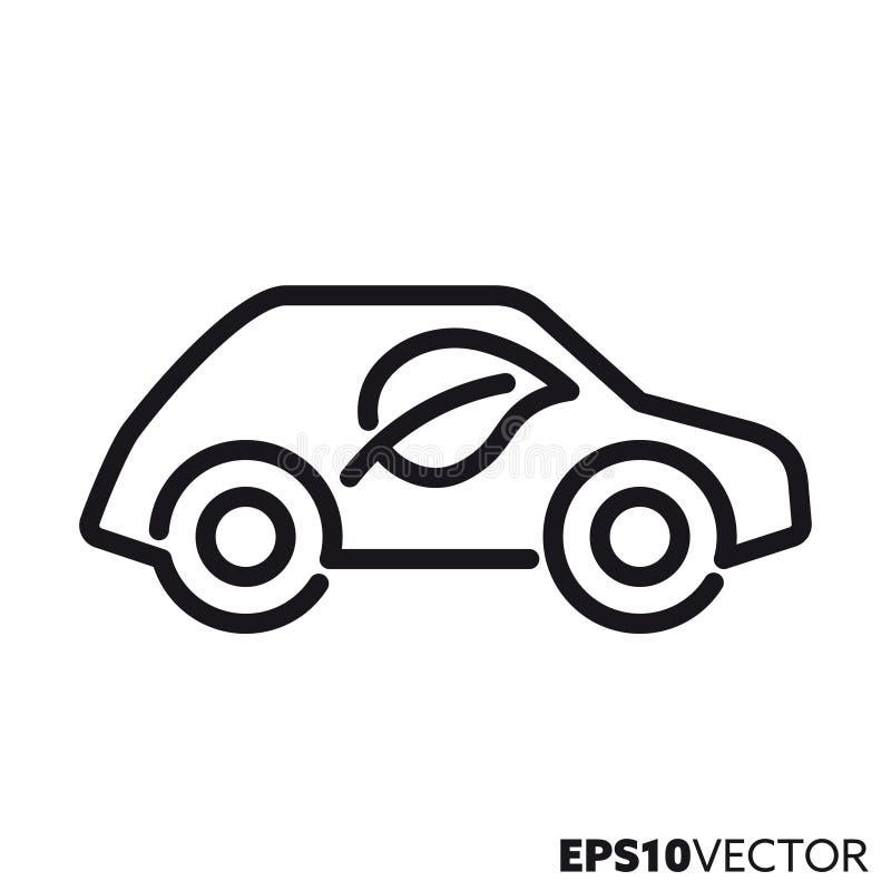 Línea icono del vector del vehículo de emisión baja libre illustration