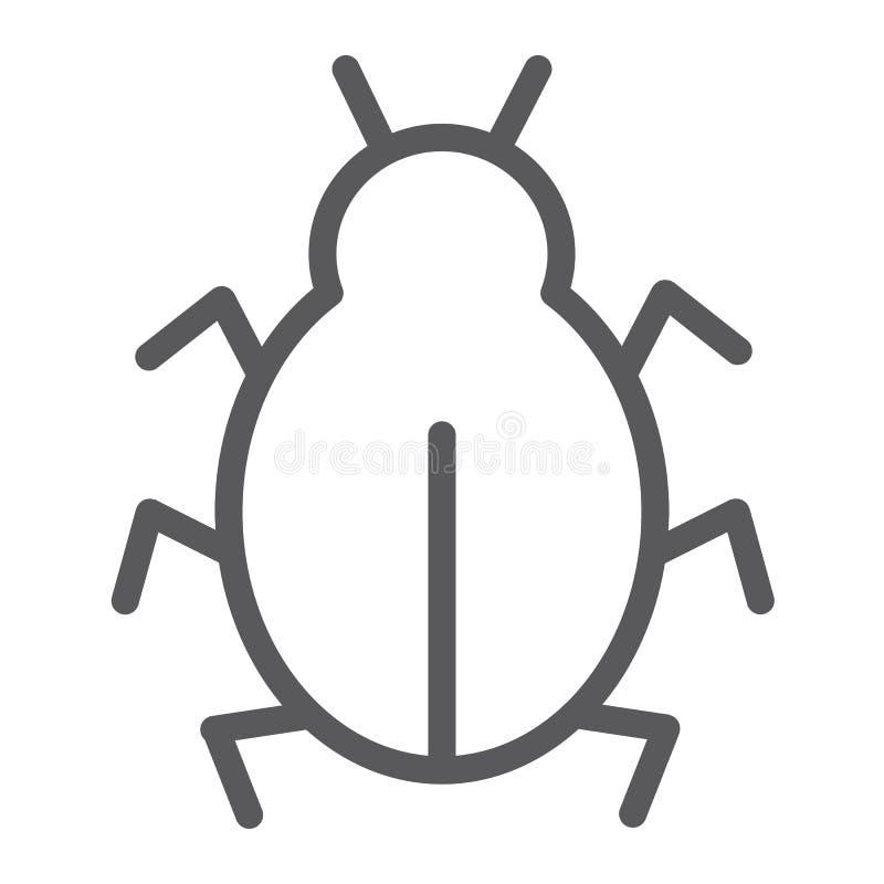 Línea icono del virus, seguridad y Internet, muestra del insecto del ordenador, gráficos de vector, un modelo linear en un fondo  ilustración del vector