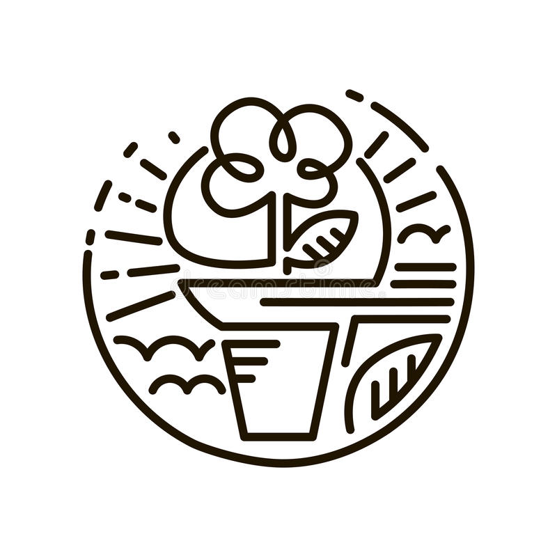 Línea icono del web Flor en un crisol Línea Art Icon ilustración del vector
