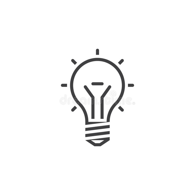 Línea icono, ejemplo del logotipo del esquema de la idea, línea de la bombilla ilustración del vector