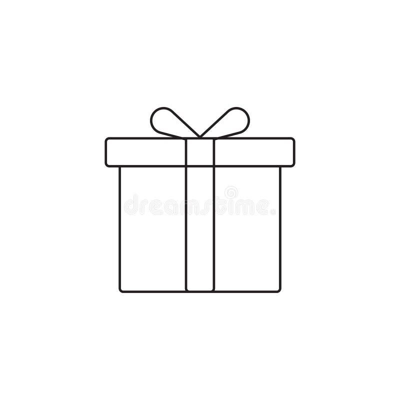 Línea icono, ejemplo del logotipo del vector del esquema, imagen linear de la caja de regalo stock de ilustración