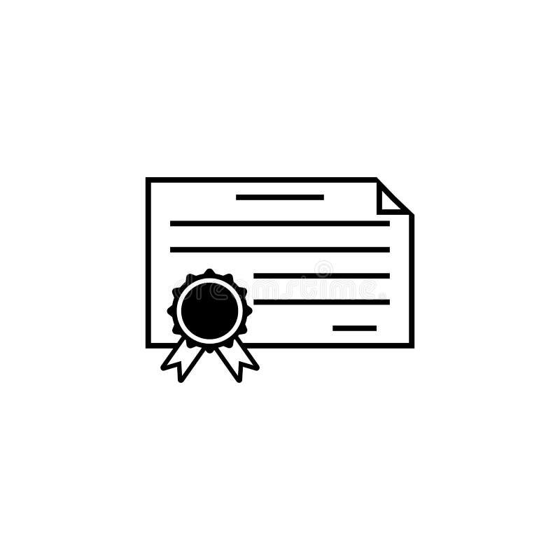 Línea icono, escuela del diploma del certificado de la educación ilustración del vector