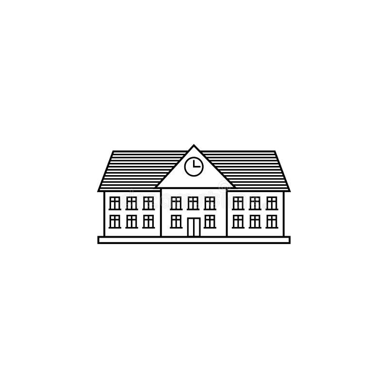 Línea icono, escuela y edificio de la universidad stock de ilustración