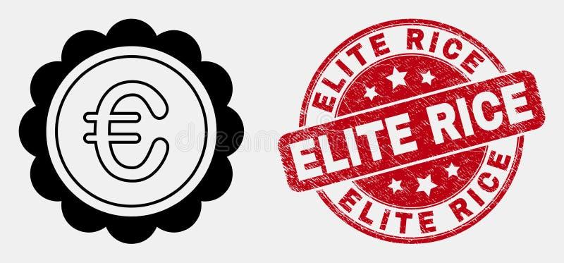 Línea icono euro del premio y sello rasguñado del vector del sello del arroz de la élite stock de ilustración