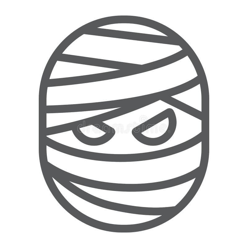 Línea icono, Halloween y espeluznante de la momia, muestra del monstruo, gráficos de vector, un modelo linear en un fondo blanco ilustración del vector