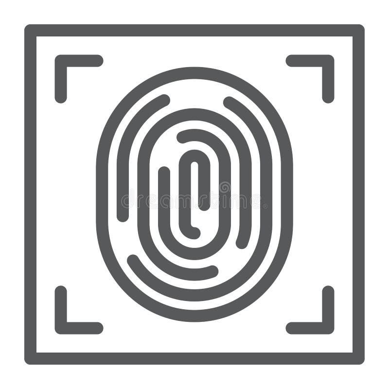 Línea icono, identificación y seguridad, muestra de la impresión, gráficos de vector, un modelo linear de la huella dactilar en u libre illustration