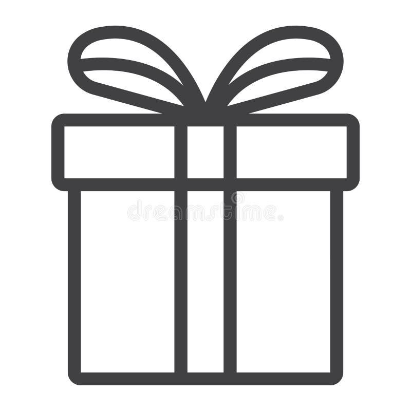 Línea icono, la Navidad de la caja de regalo de la Navidad del Año Nuevo ilustración del vector