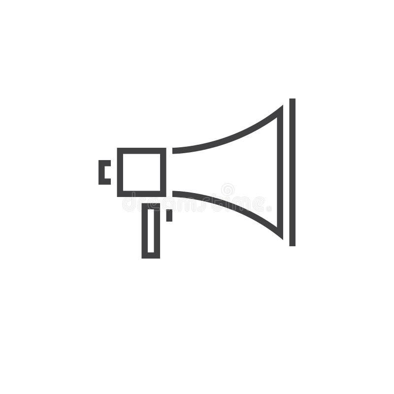 Línea icono, logotipo del megáfono del vector del esquema del megáfono, linear stock de ilustración