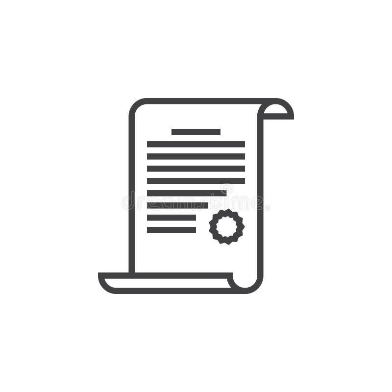 Línea icono, logotipo del vector del esquema del certificado, picto linear del diploma libre illustration