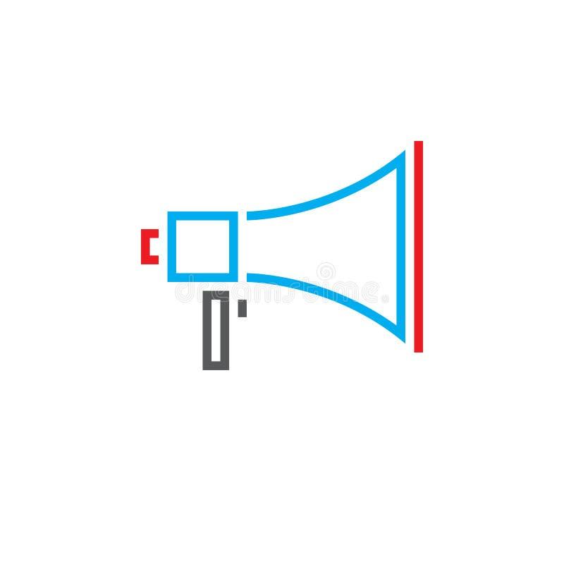 Línea icono, logotipo del vector del esquema del megáfono, pictog linear del megáfono stock de ilustración