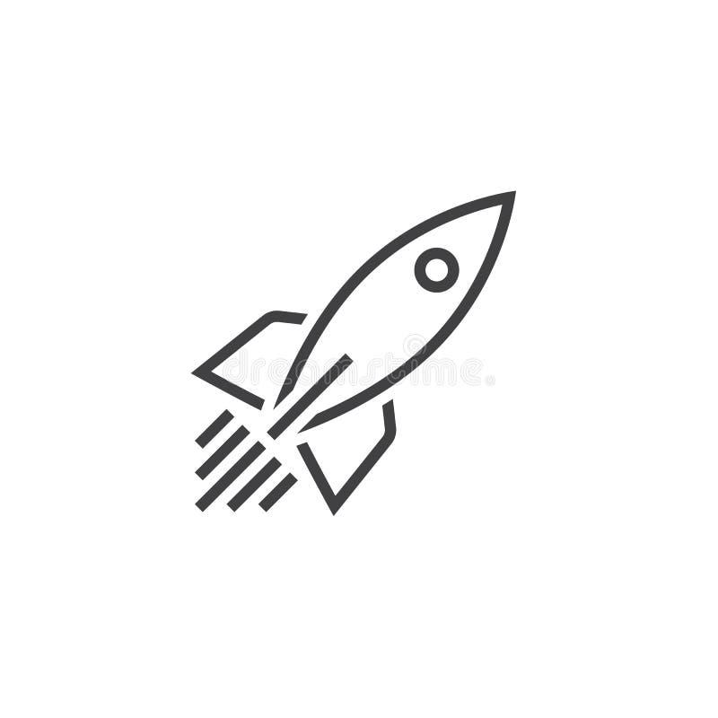 Línea icono, logotipo del vector del esquema, pictograma linear de la nave de Rocket libre illustration
