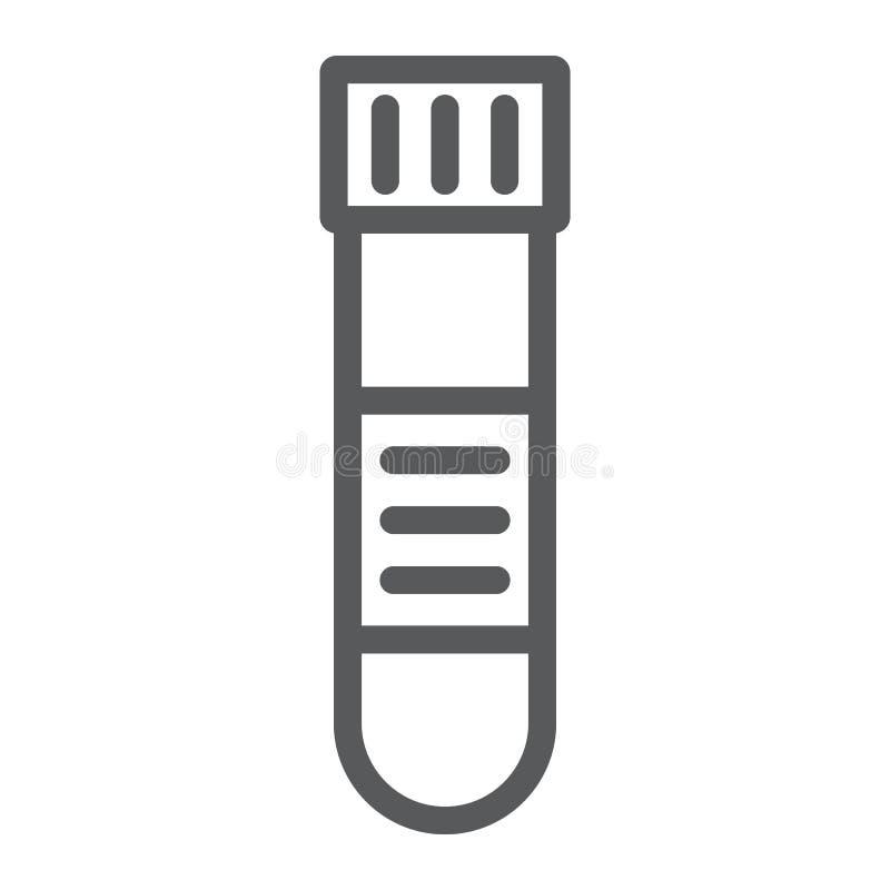 Línea icono, médico y equipo del tubo de ensayo de la sangre libre illustration