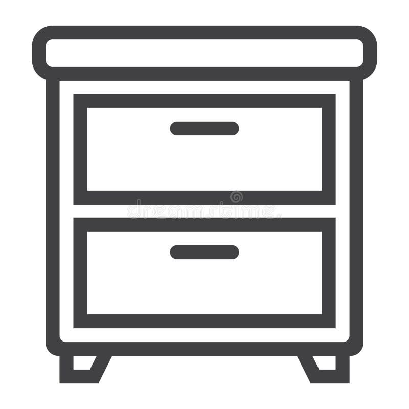 Línea Icono, Muebles E Interior De La Mesita De Noche Ilustración ...