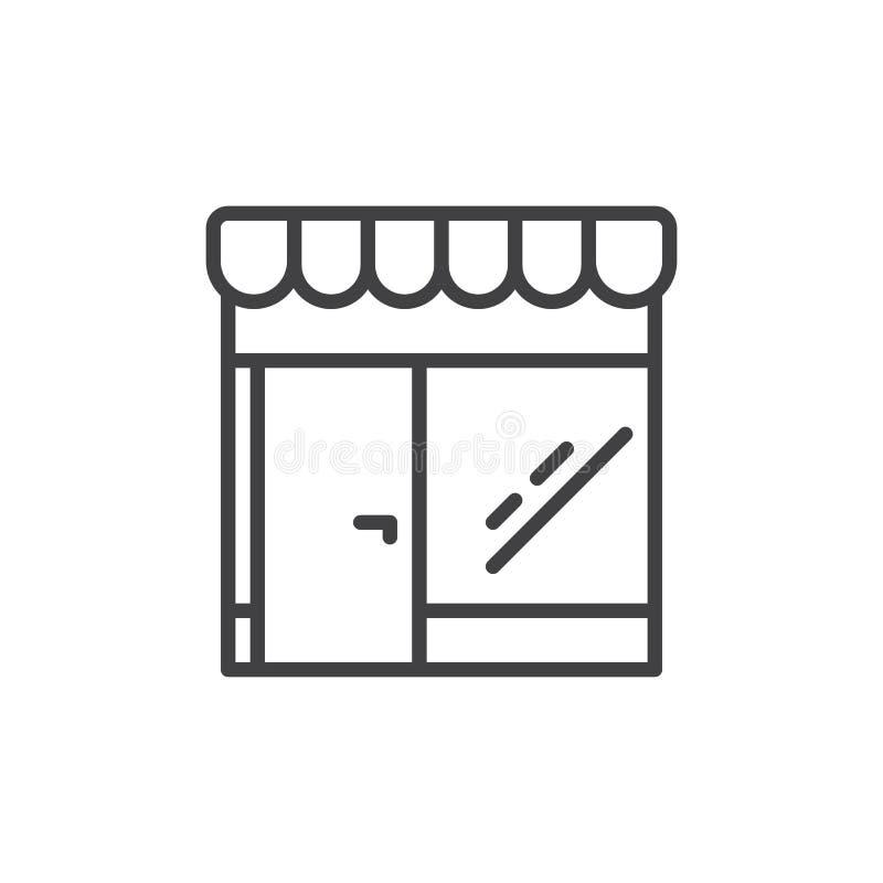 Línea icono, muestra de la tienda al por menor del vector del esquema libre illustration