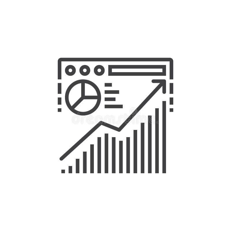 Línea icono, muestra del análisis de tráfico del sitio web del vector del esquema, linear libre illustration