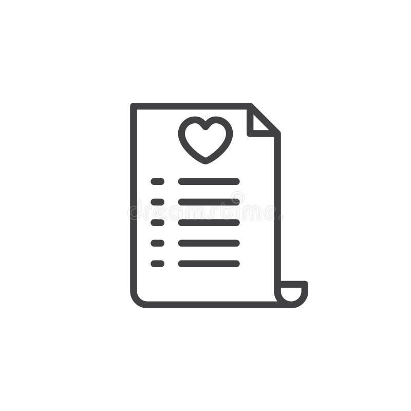 Línea icono, muestra del list d'envie del vector del esquema libre illustration