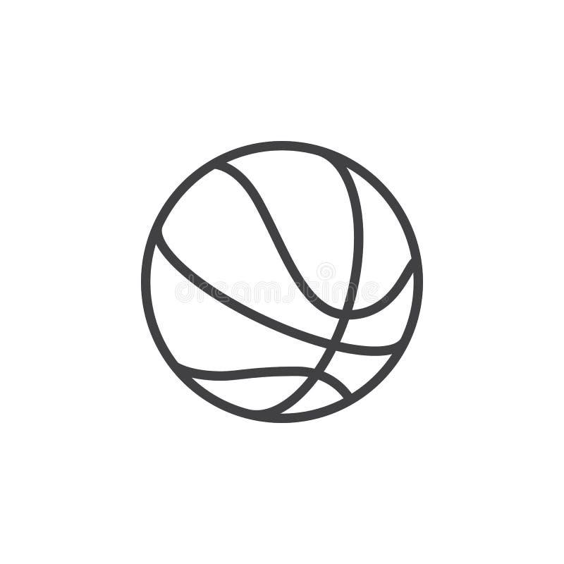 Línea icono, muestra del vector del esquema, pictograma linear de la bola del baloncesto del estilo aislado en blanco stock de ilustración