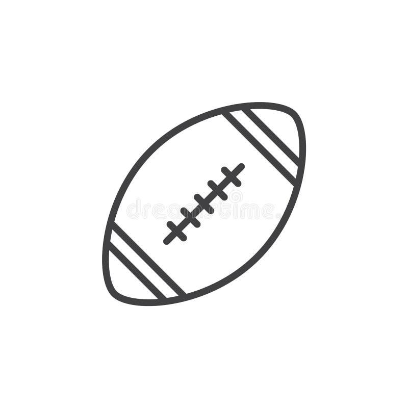 Línea icono, muestra del vector del esquema, pictograma linear de la bola del fútbol americano del estilo aislado en blanco stock de ilustración