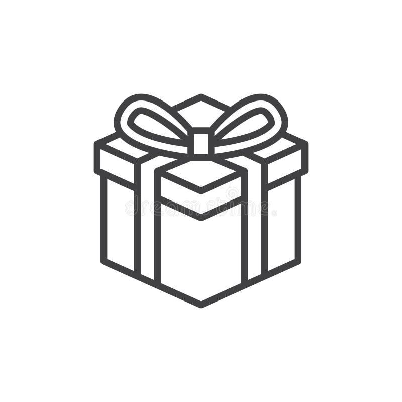 Línea icono, muestra del vector del esquema, pictograma linear de la caja de regalo del estilo aislado en blanco ilustración del vector