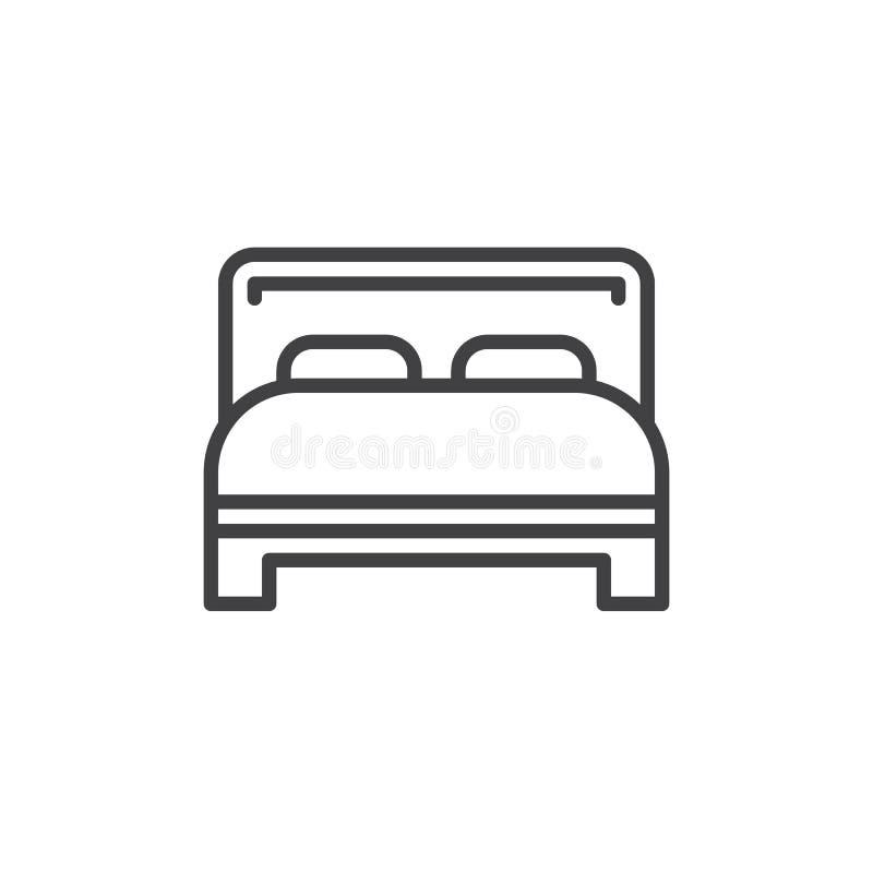 Línea icono, muestra del vector del esquema, pictograma linear de la cama matrimonial del estilo aislado en blanco stock de ilustración