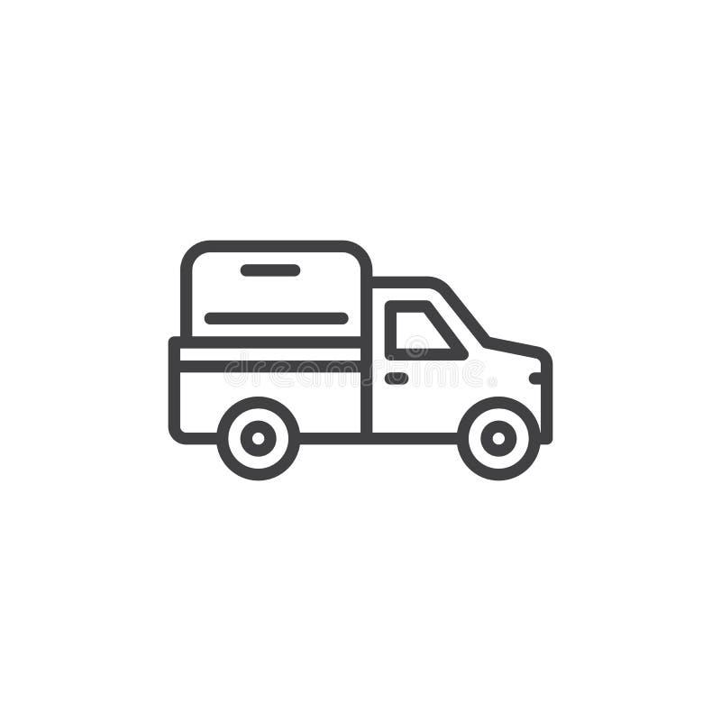 Línea icono, muestra del vector del esquema, pictograma linear de la camioneta pickup del estilo aislado en blanco Símbolo, ejemp stock de ilustración