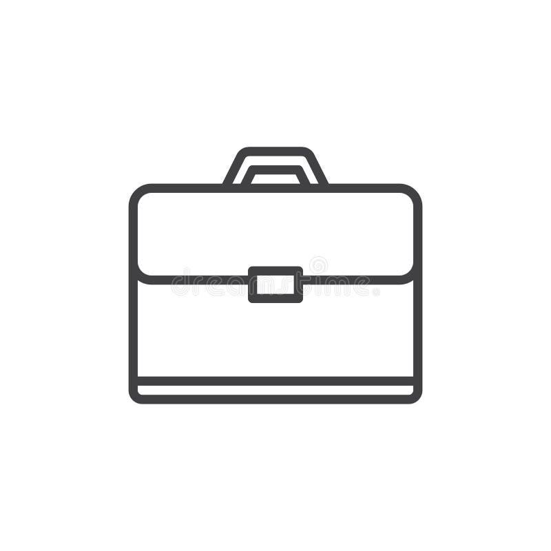 Línea icono, muestra del vector del esquema, pictograma linear de la cartera del estilo aislado en blanco libre illustration