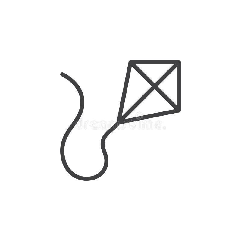 Línea icono, muestra del vector del esquema, pictograma linear de la cometa del estilo aislado en blanco libre illustration