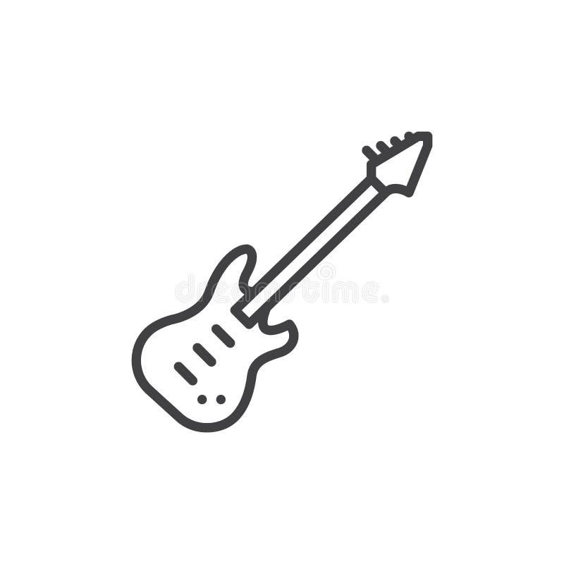 Línea icono, muestra del vector del esquema, pictograma linear de la guitarra eléctrica del estilo aislado en blanco libre illustration