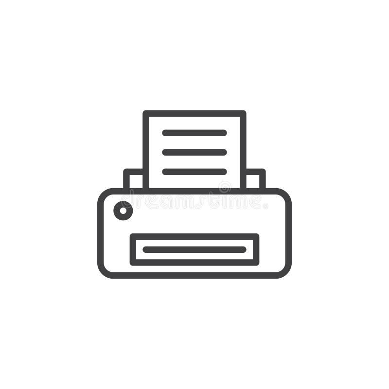 Línea icono, muestra del vector del esquema, pictograma linear de la impresora del estilo aislado en blanco libre illustration