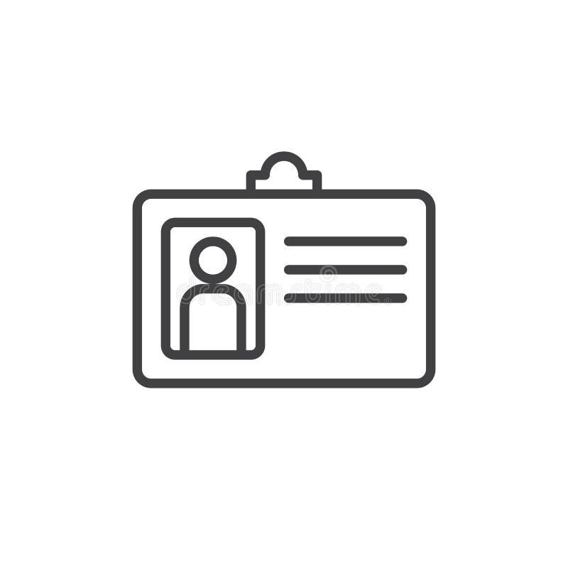 Línea icono, muestra del vector del esquema, pictograma linear de la insignia de la identificación del usuario del estilo aislado ilustración del vector