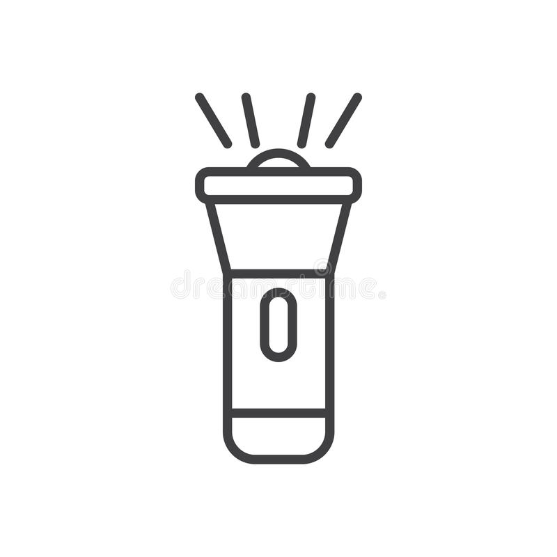 Línea icono, muestra del vector del esquema, pictograma linear de la linterna del estilo aislado en blanco stock de ilustración