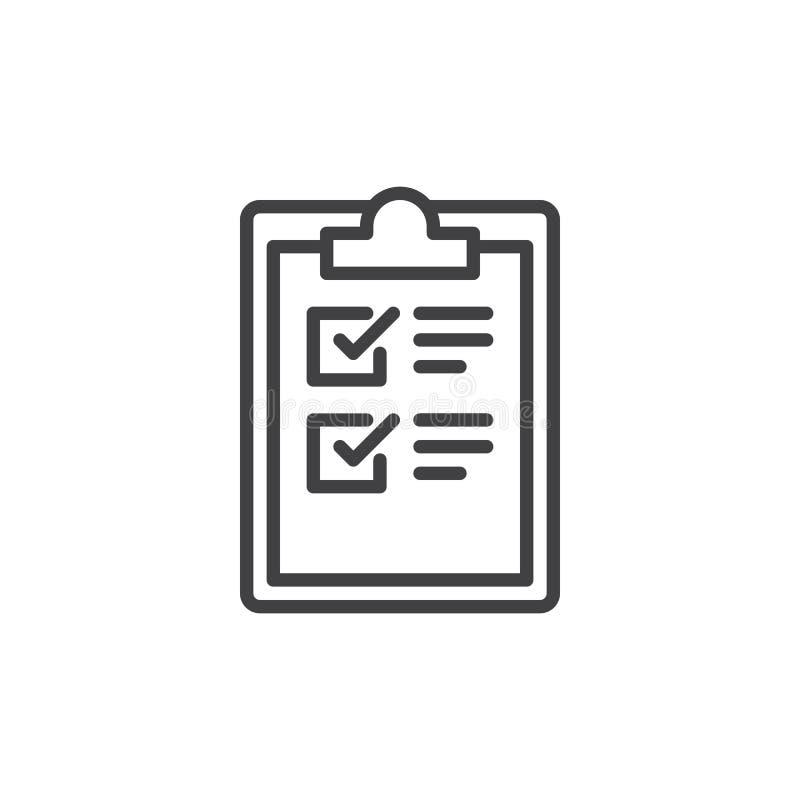 Línea icono, muestra del vector del esquema, pictograma linear de la lista de control del tablero del estilo aislado en blanco stock de ilustración