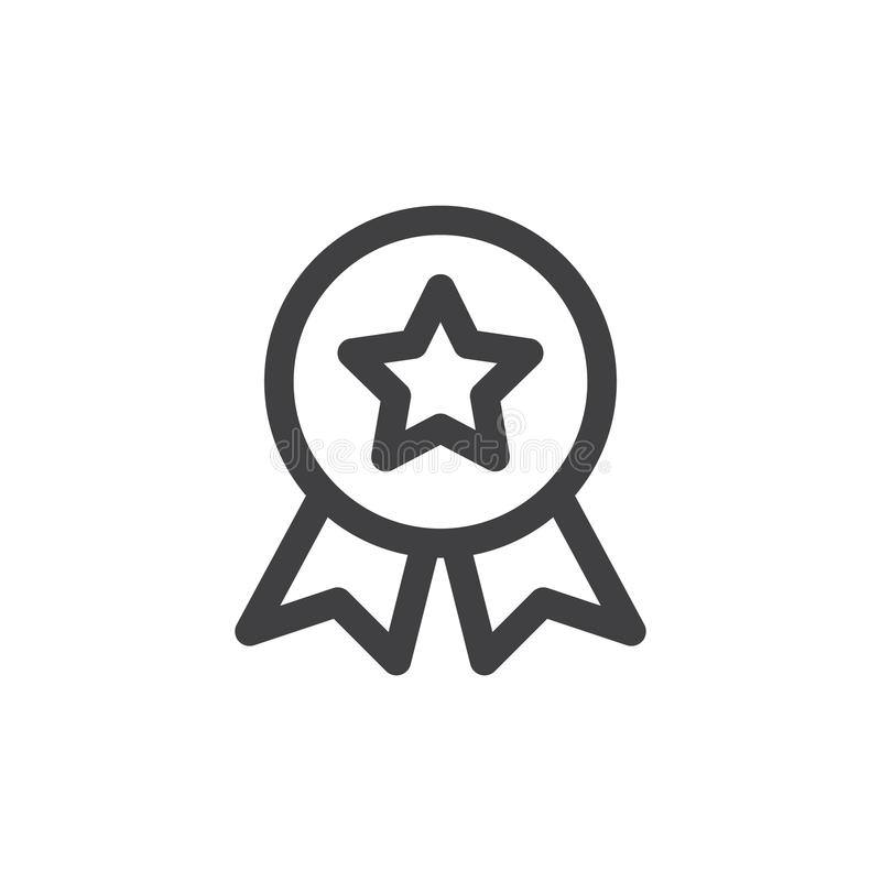 Línea icono, muestra del vector del esquema, pictograma linear de la medalla de la calidad del estilo aislado en blanco stock de ilustración