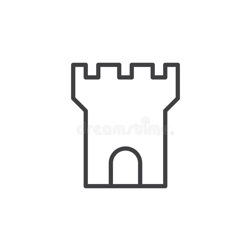 Línea icono, muestra del vector del esquema, pictograma linear de la torre de la fortaleza del estilo aislado en blanco ilustración del vector