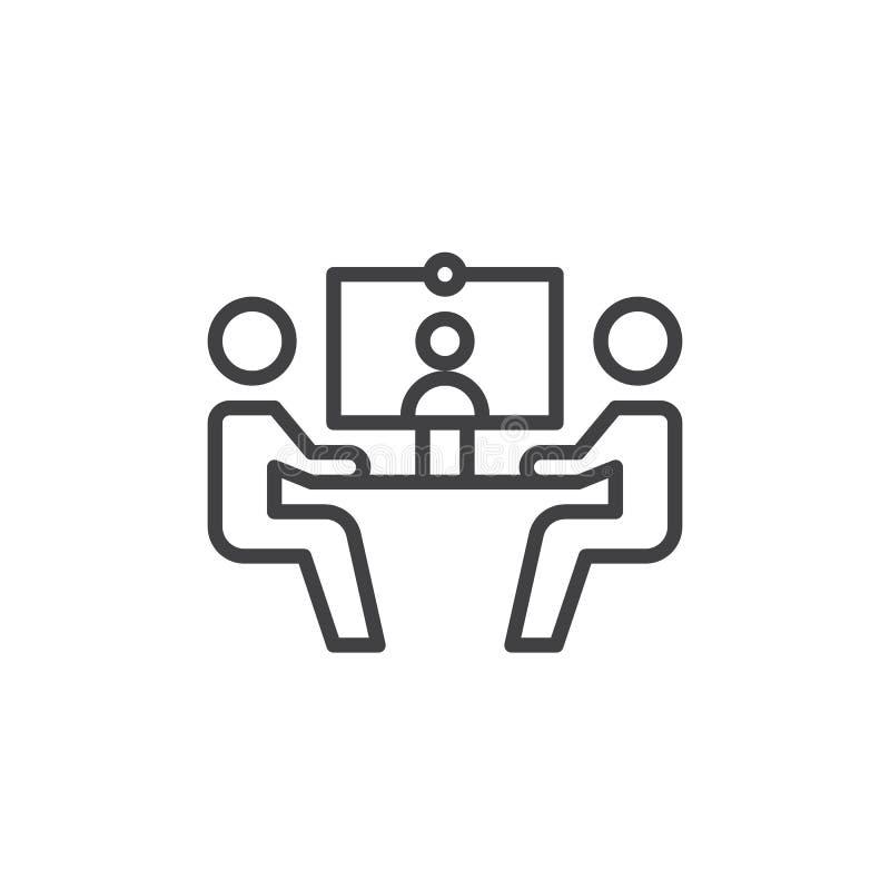 Línea icono, muestra del vector del esquema, pictograma linear de la videoconferencia del estilo aislado en blanco Símbolo, ejemp ilustración del vector