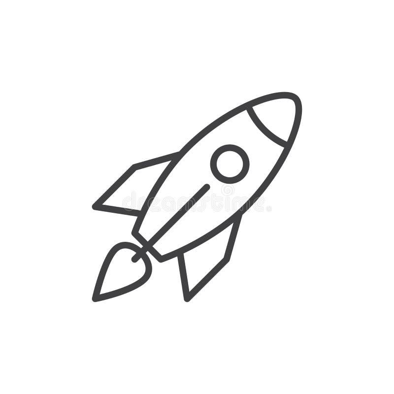 Línea icono, muestra del vector del esquema, pictograma linear de Rocket del estilo aislado en blanco ilustración del vector