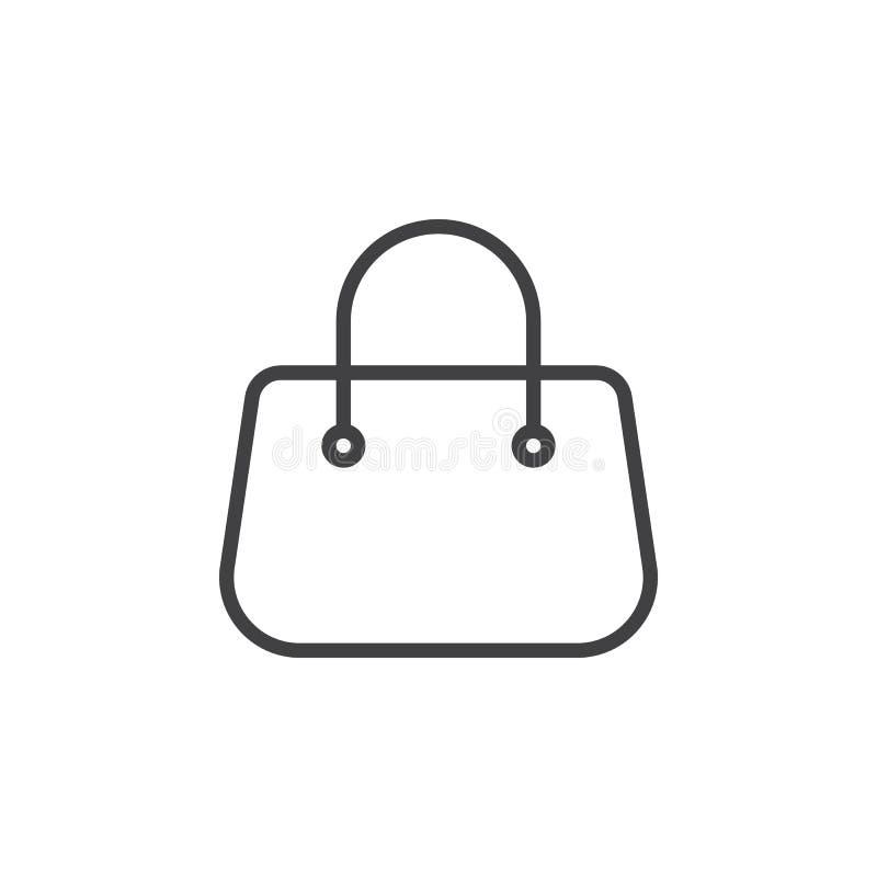 Línea icono, muestra del vector del esquema, pictograma linear del bolso monedero del estilo aislado en blanco ilustración del vector