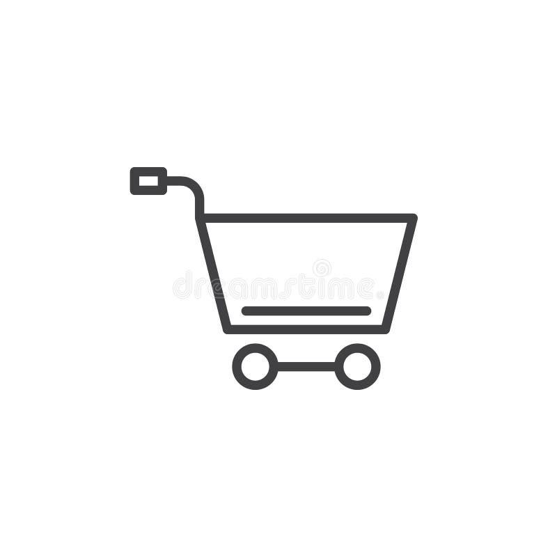 Línea icono, muestra del vector del esquema, pictograma linear del carro de la compra del estilo aislado en blanco ilustración del vector