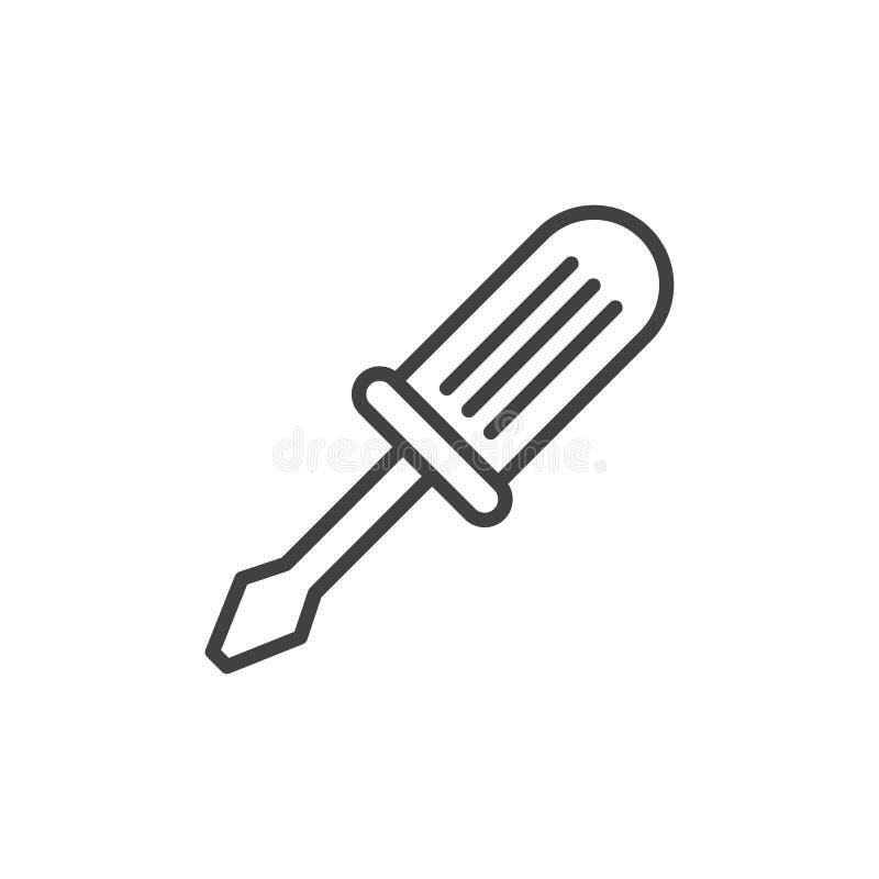 Línea icono, muestra del vector del esquema, pictograma linear del destornillador del estilo aislado en blanco stock de ilustración