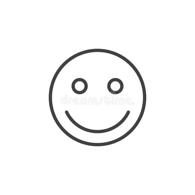 Línea icono, muestra del vector del esquema, pictograma linear del emoticon de la sonrisa del estilo aislado en blanco stock de ilustración