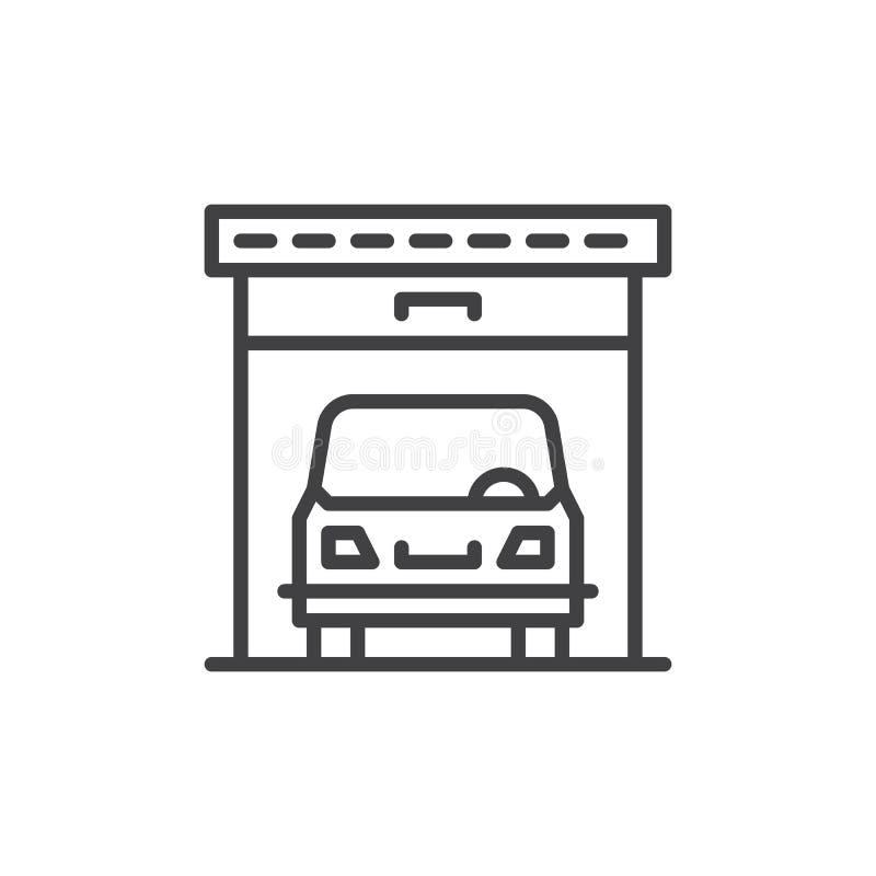 Línea icono, muestra del vector del esquema, pictograma linear del garaje del coche del estilo aislado en blanco stock de ilustración
